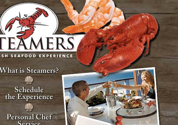 Themed website for Steamers Catering Company